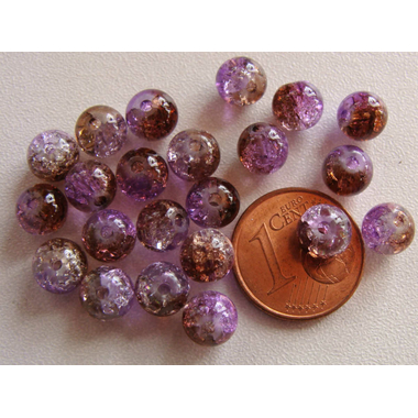 perle verre craquele 6mm violet marron