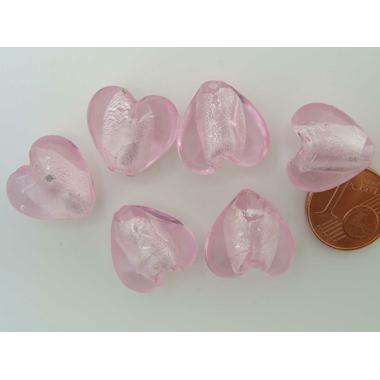 perle coeur 15mm Feuille argente rose