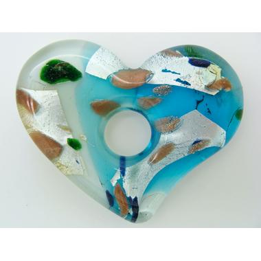 pendentif coeur argente bleu 61mm Pend-144