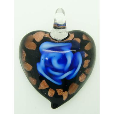 pendentif coeur noir fleur bleu Pend-154