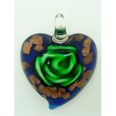 pendentif coeur marine fleur vert Pend-155