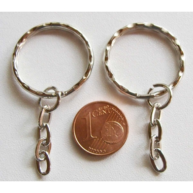 anneau porte-cle chaine 25mm argente