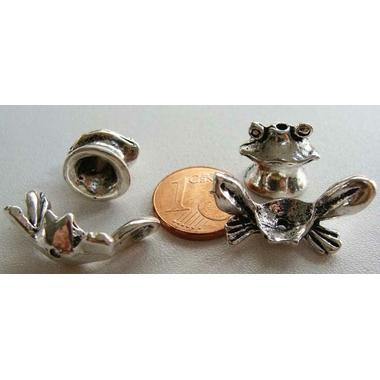 2 ensembles de 2 perles coupelles GRENOUILLE Animal METAL ARGENTE MA298