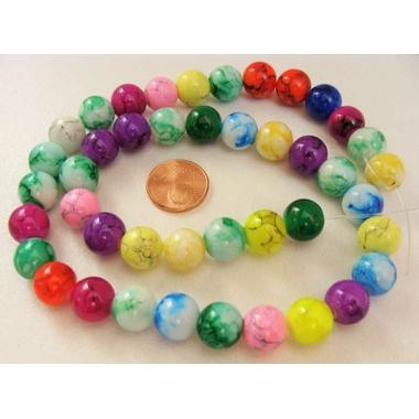 perle verre marbre 10mm multicolore peint-30