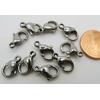 Fermoirs mousquetons 12mm Acier Inoxydable par 10 pcs