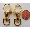 Fermoirs mousqueton porte-clés 35mm DORE par 50 pc
