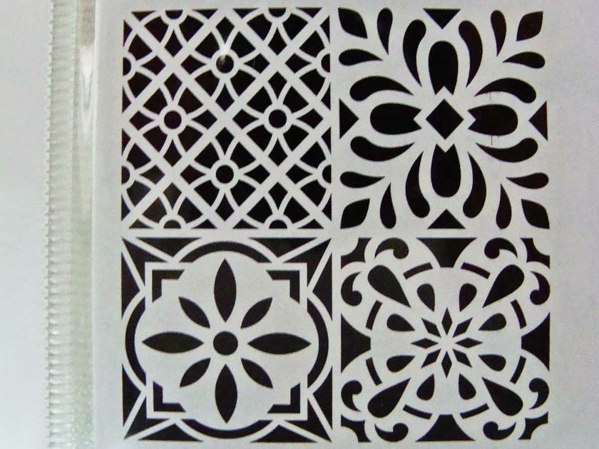 pochoir home deco 4 motifs mix style carreaux de ciment planche 30x30cm artemio d co divers. Black Bedroom Furniture Sets. Home Design Ideas