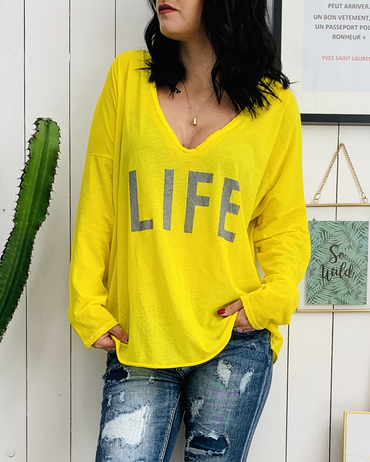 T-shirt LIFE jaune