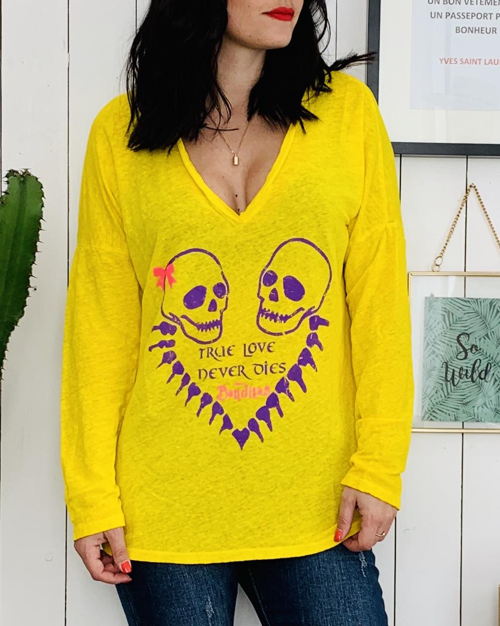 T-shirt TRUE LOVE jaune