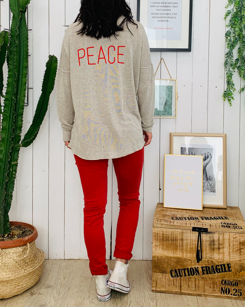 Pull LOLY PEACE beige