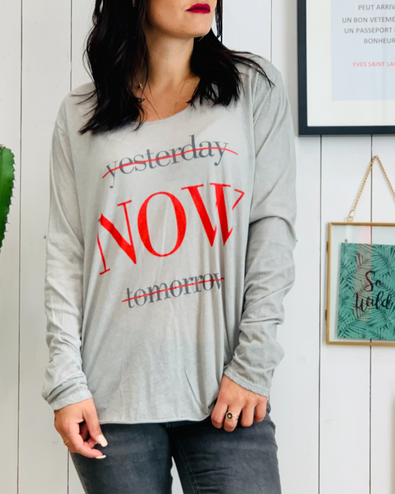 T-shirt NOW gris