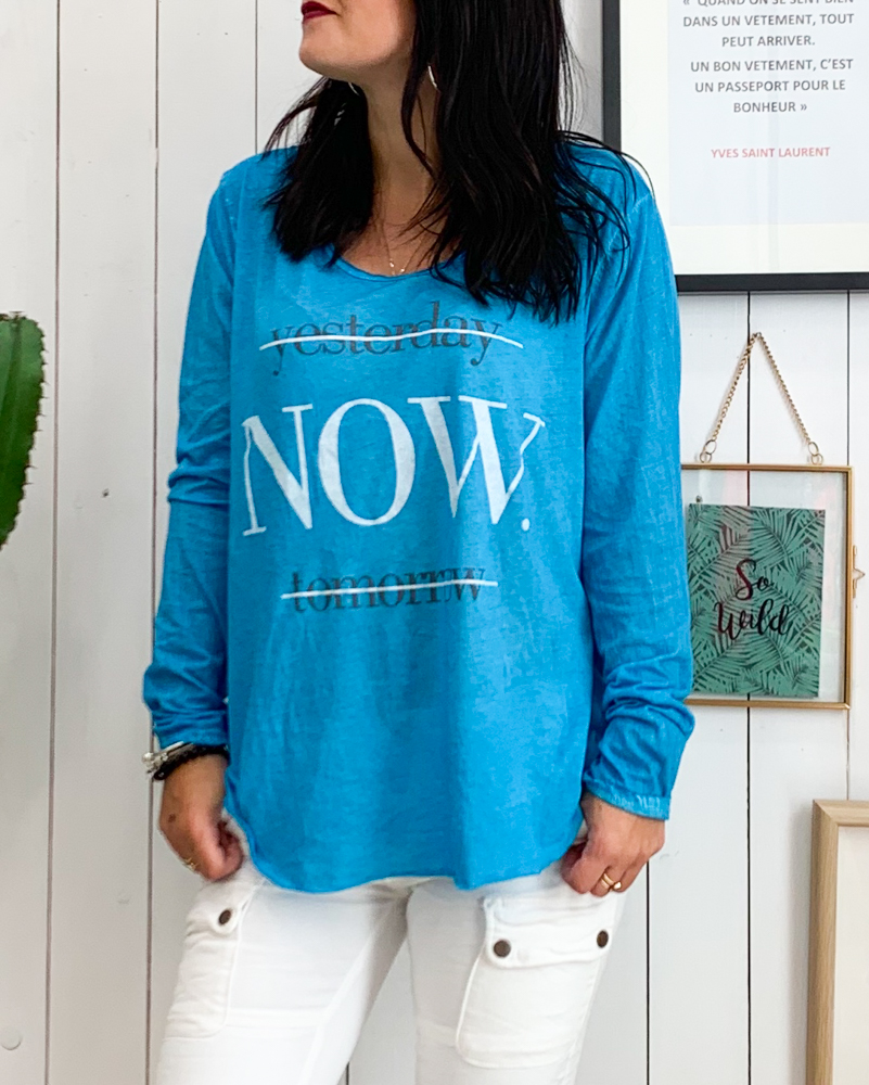T-shirt NOW bleu