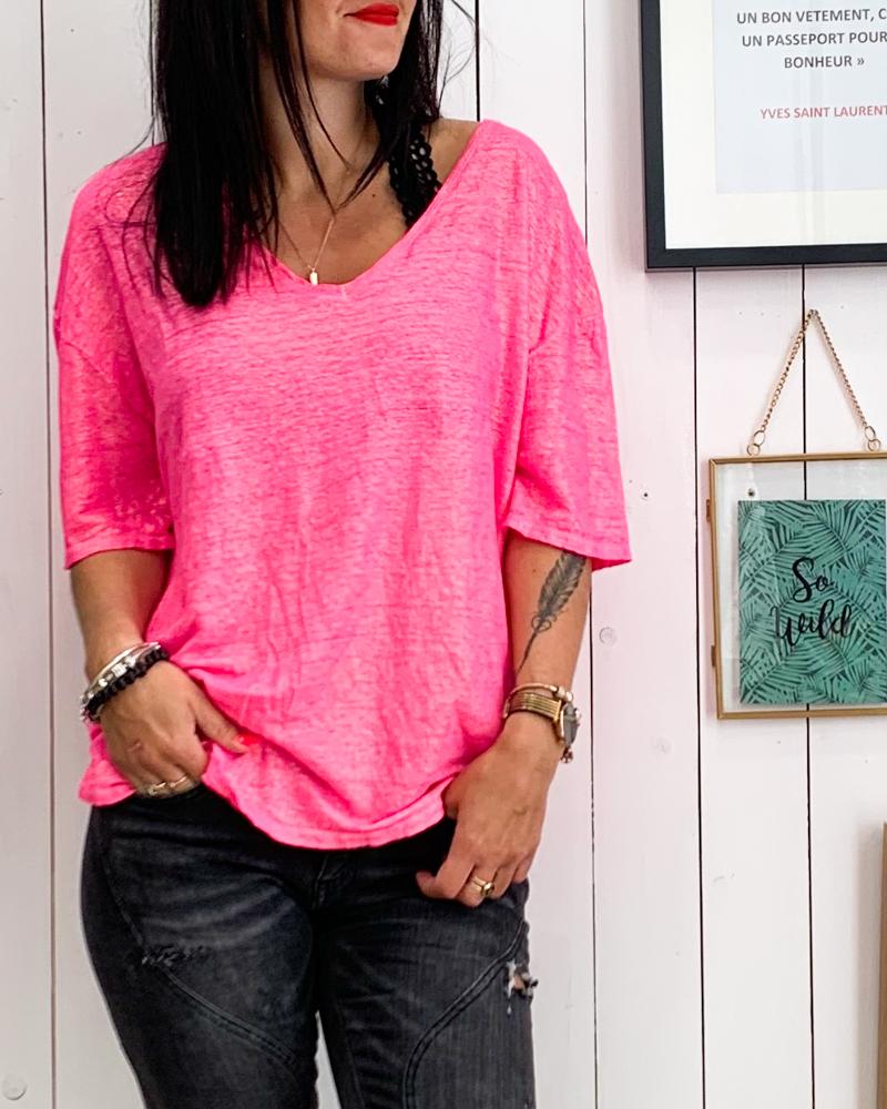 T-shirt TALLYA rose fluo