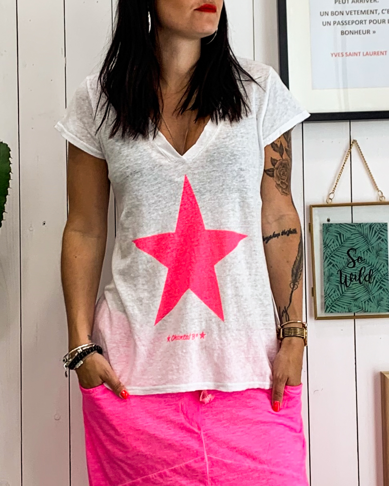 T-shirt STAR blanc étoile rose