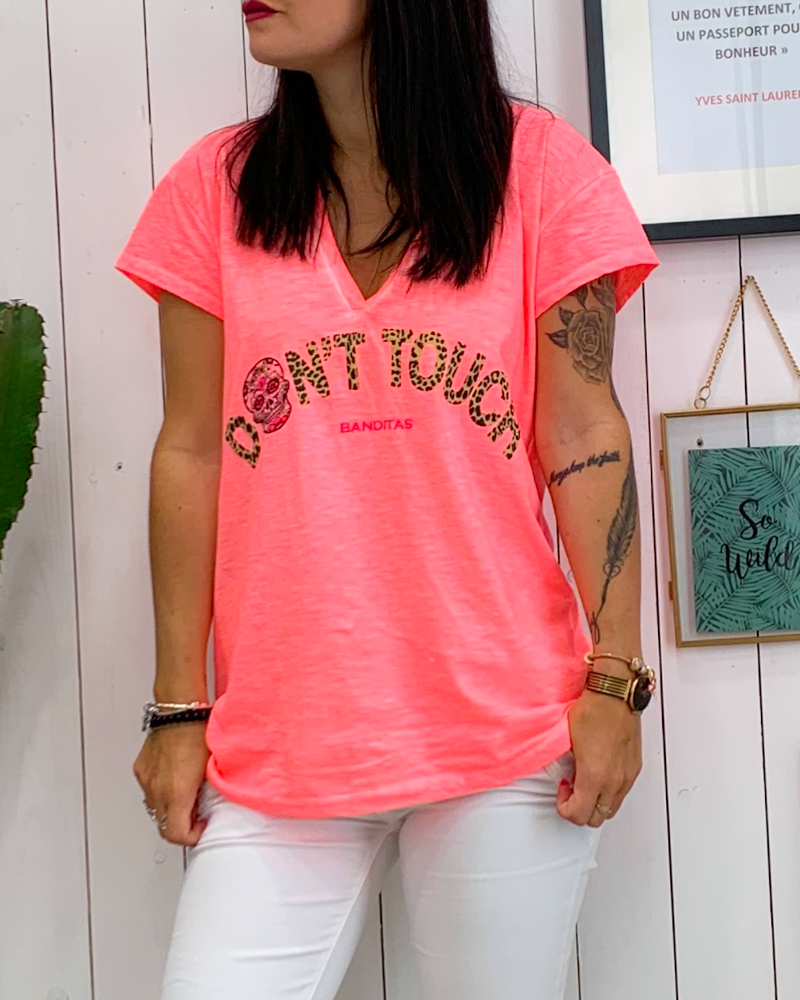 T-shirt DON\'T TOUCH rose fluo
