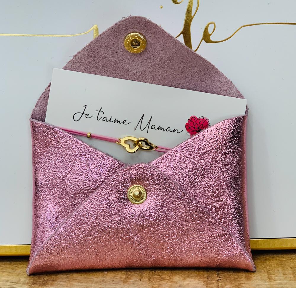 Porte carte ROSE BONBON / bracelet