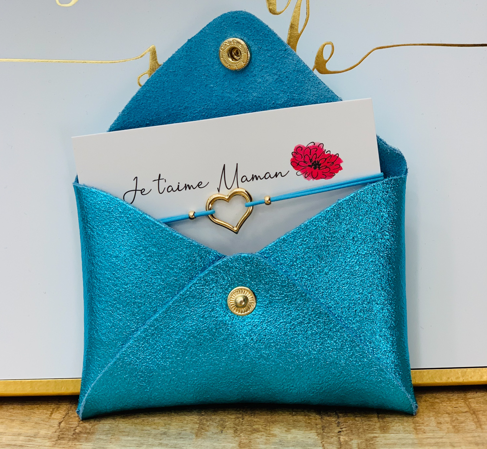Porte carte TURQUOISE / bracelet