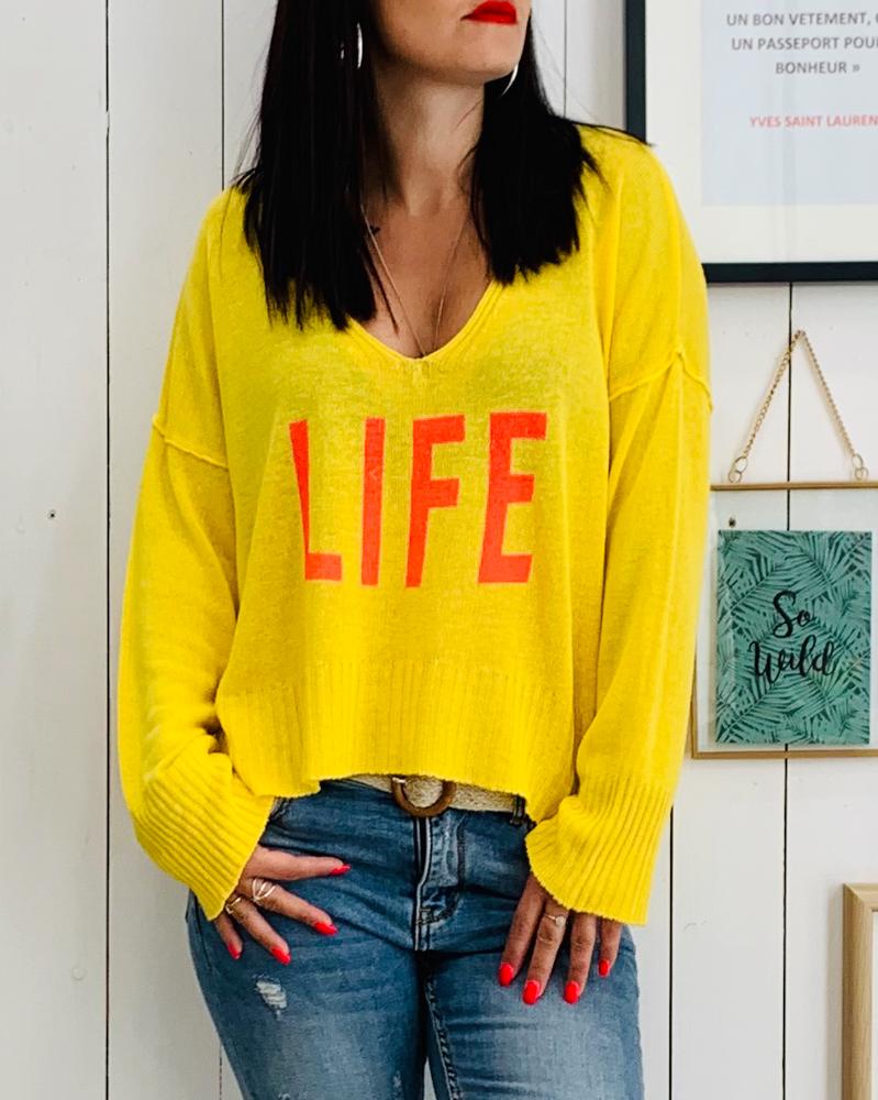 Pull Life jaune