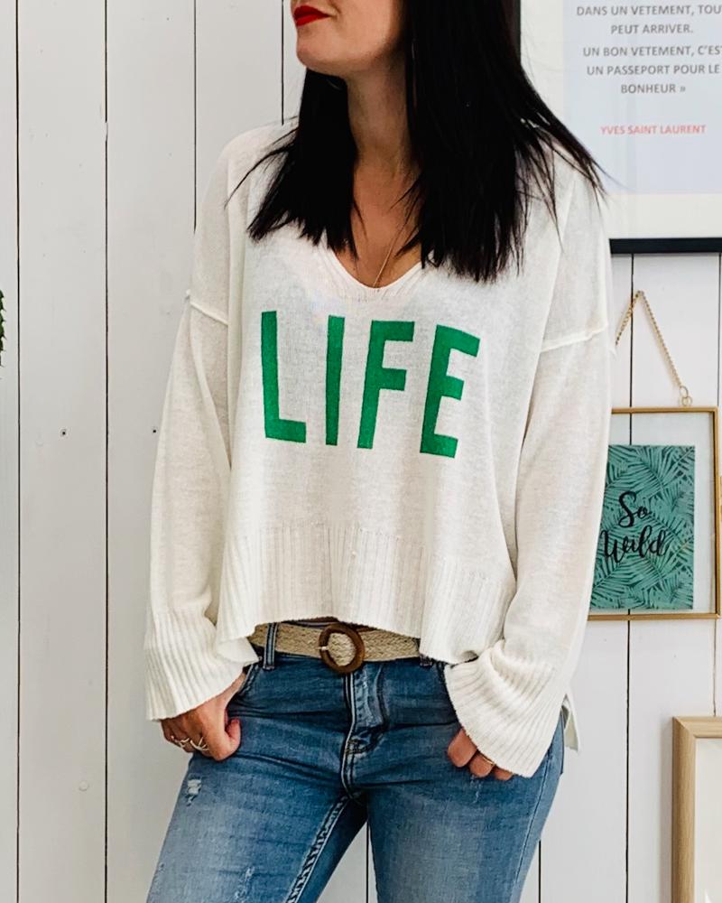 Pull Life blanc