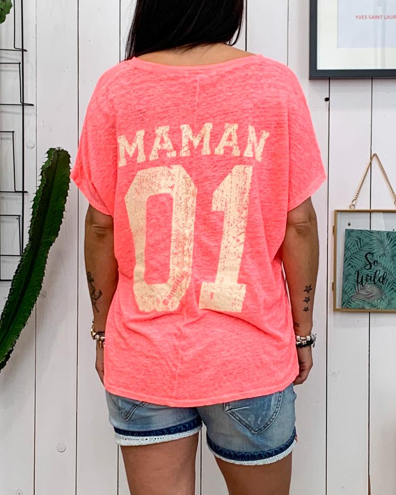 T-shirt MOM rose fluo