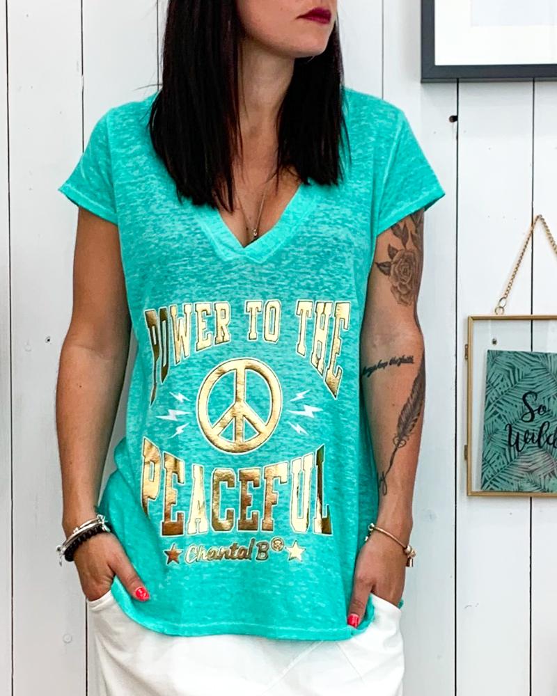 T-shirt POWER vert d\'eau