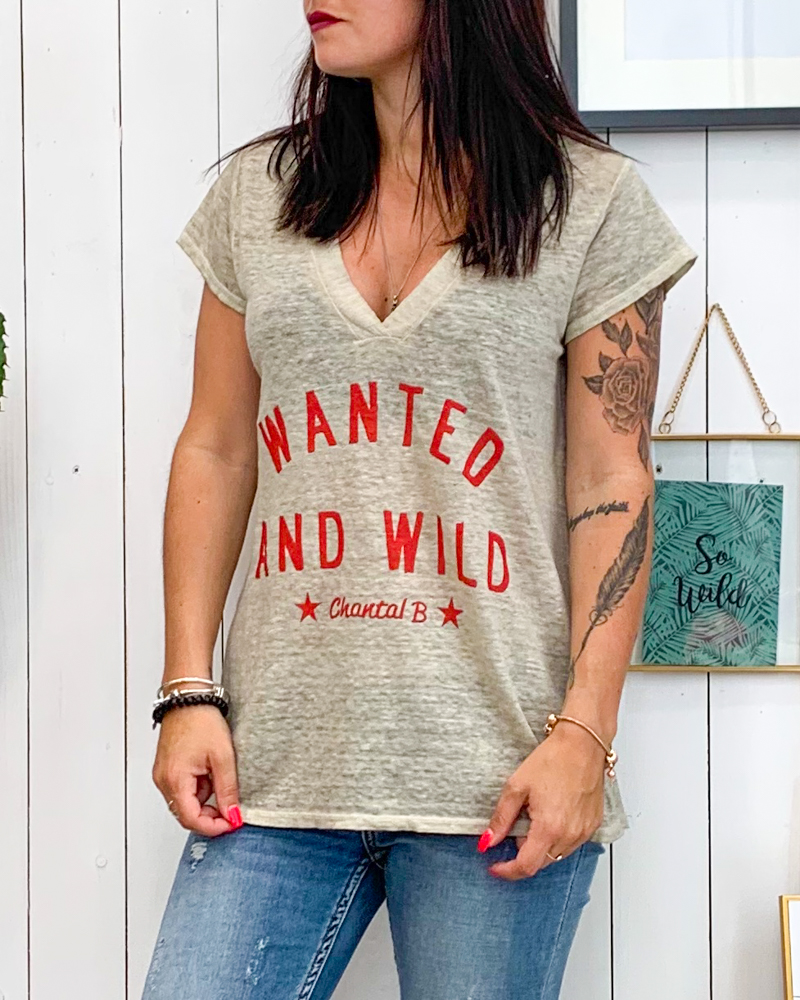 T-shirt WANTED taupe