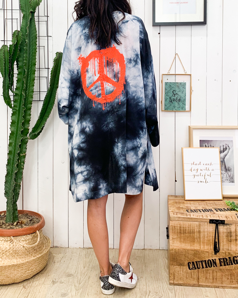 Kimono PEACE anthracite