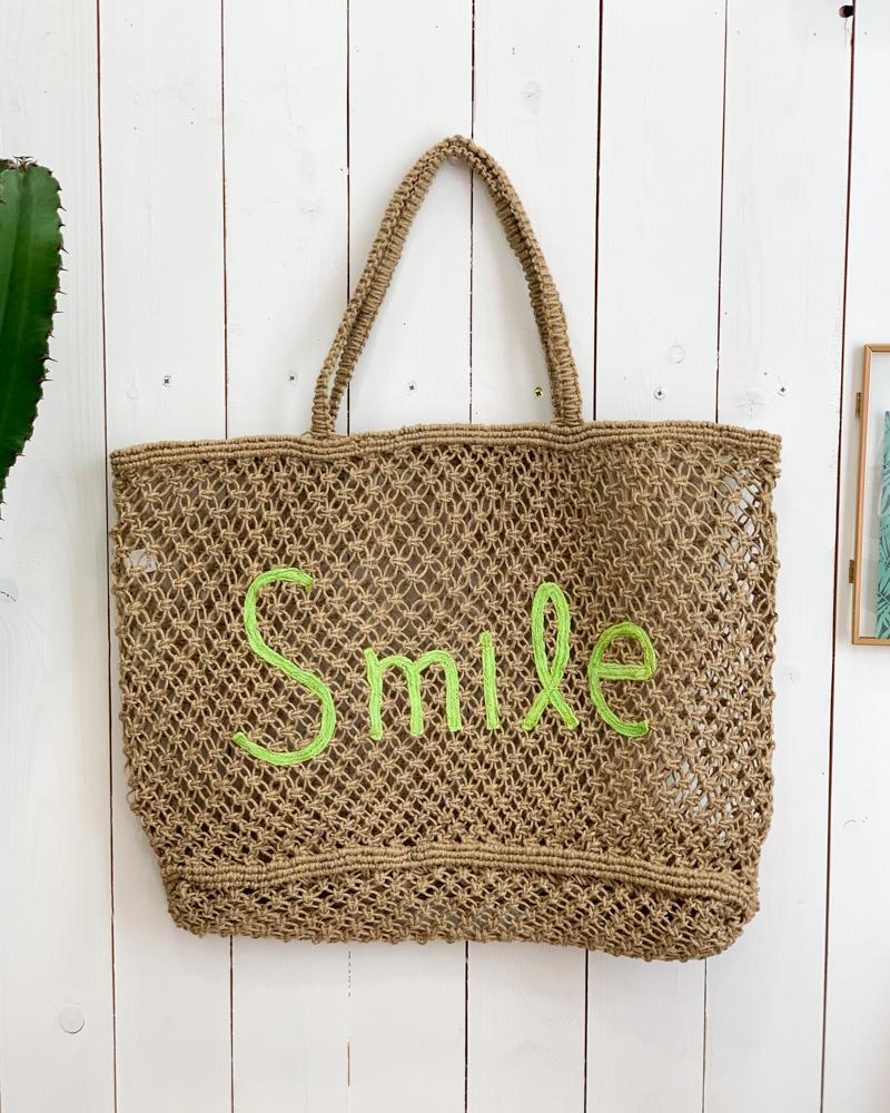Sac SMILE beige/vert