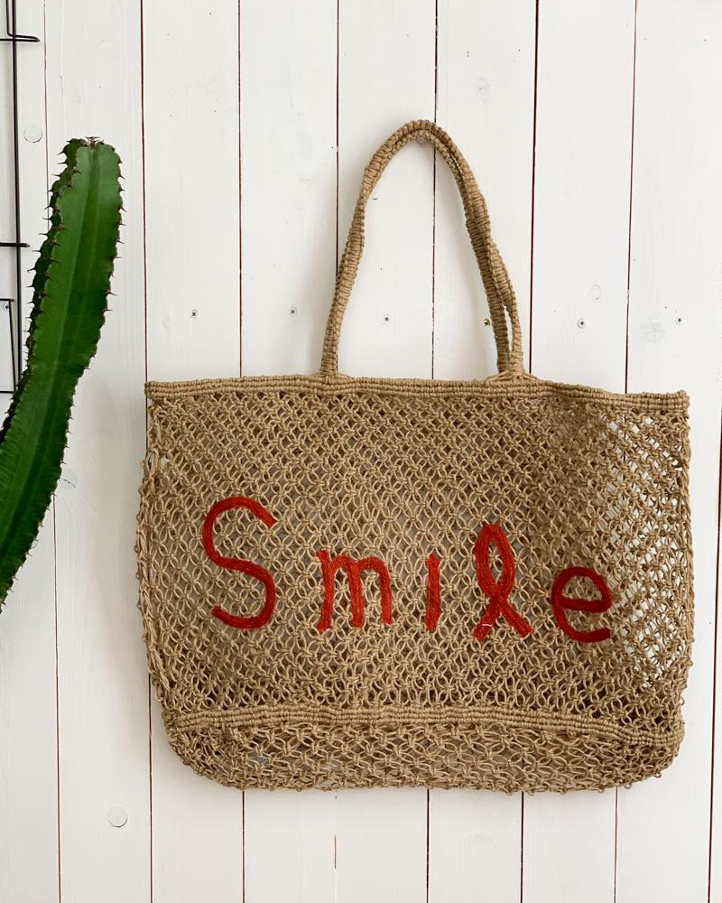 Sac SMILE beige/rouge