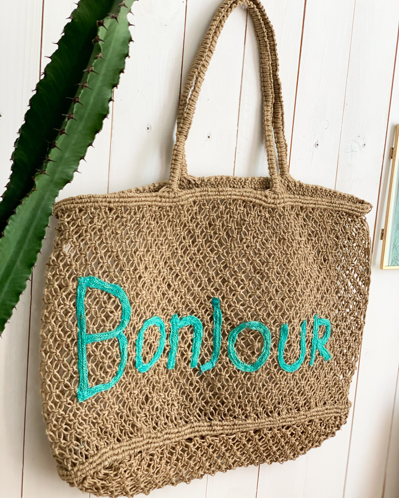 Sac BONJOUR beige/turquoise