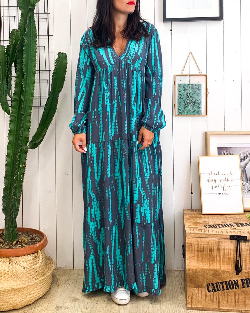 Robe ILDA gris/turquoise