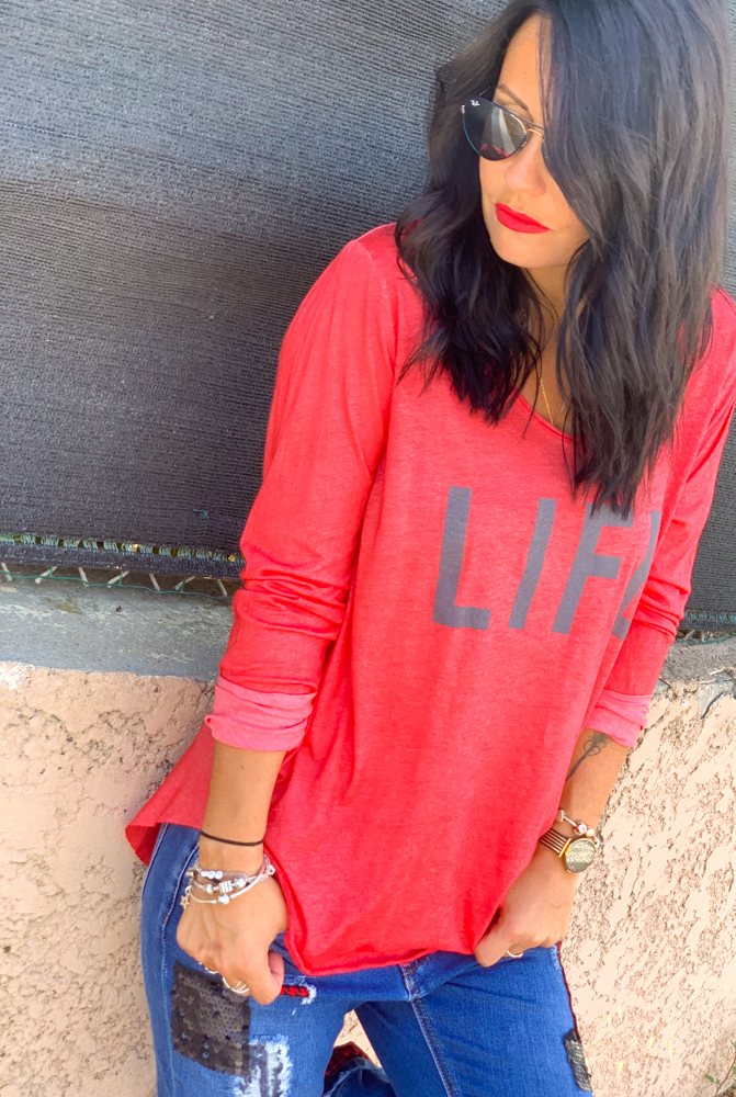 T-shirt LIFE rouge/gris