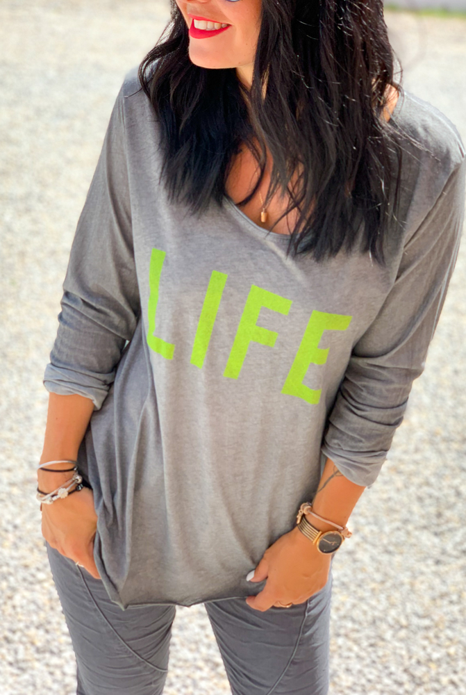 T-shirt LIFE gris/vert