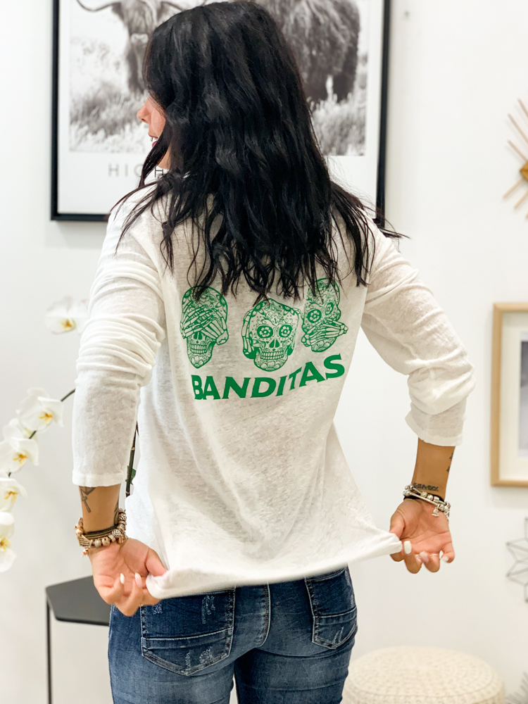 T-shirt ROULIO écru/vert