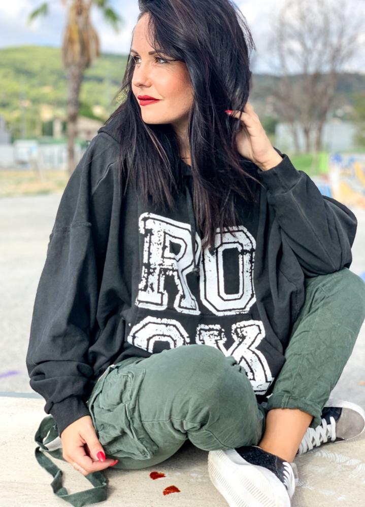 Sweat ROCK noir/blanc