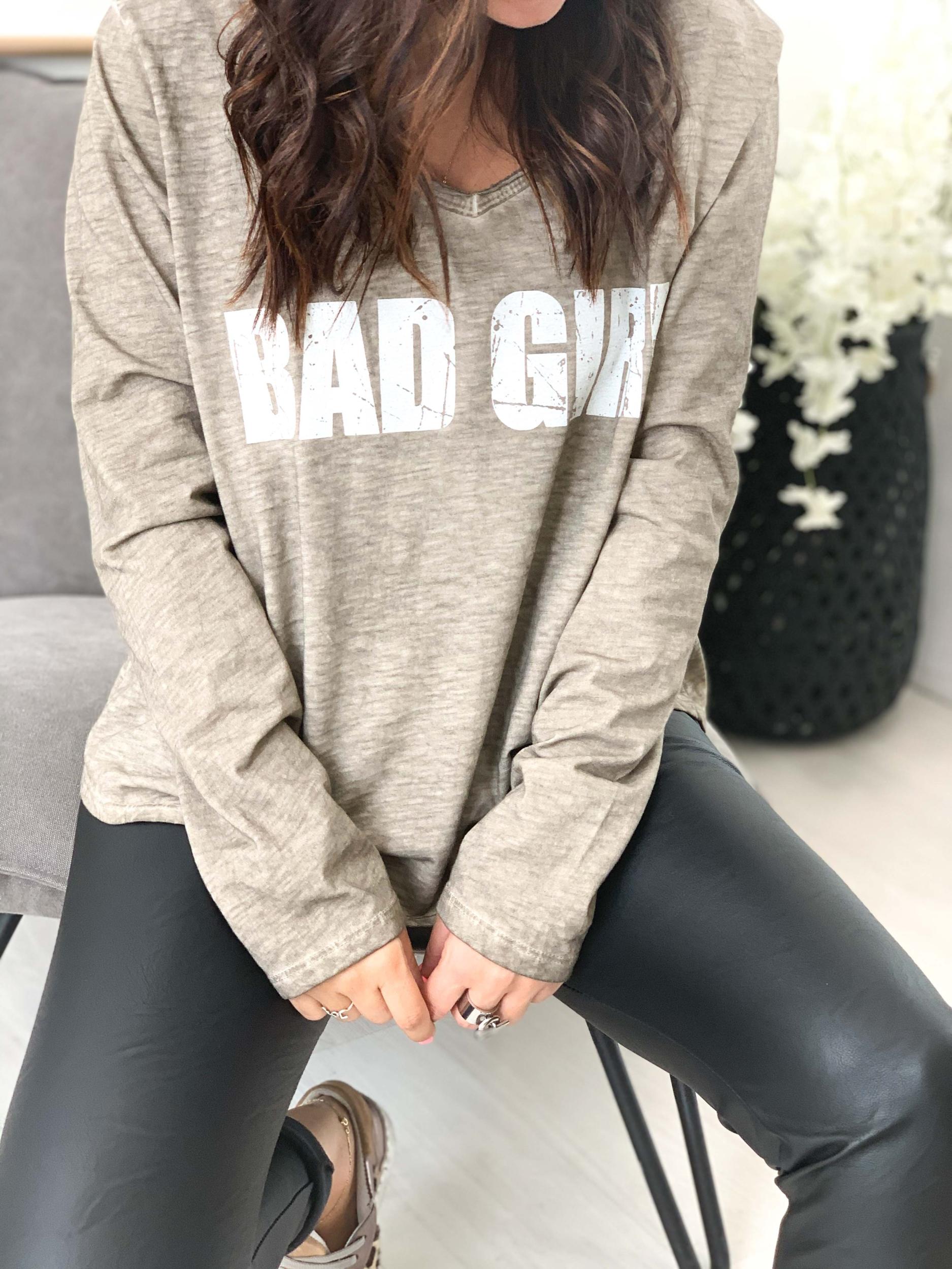 T-shirt BAD GIRL taupe