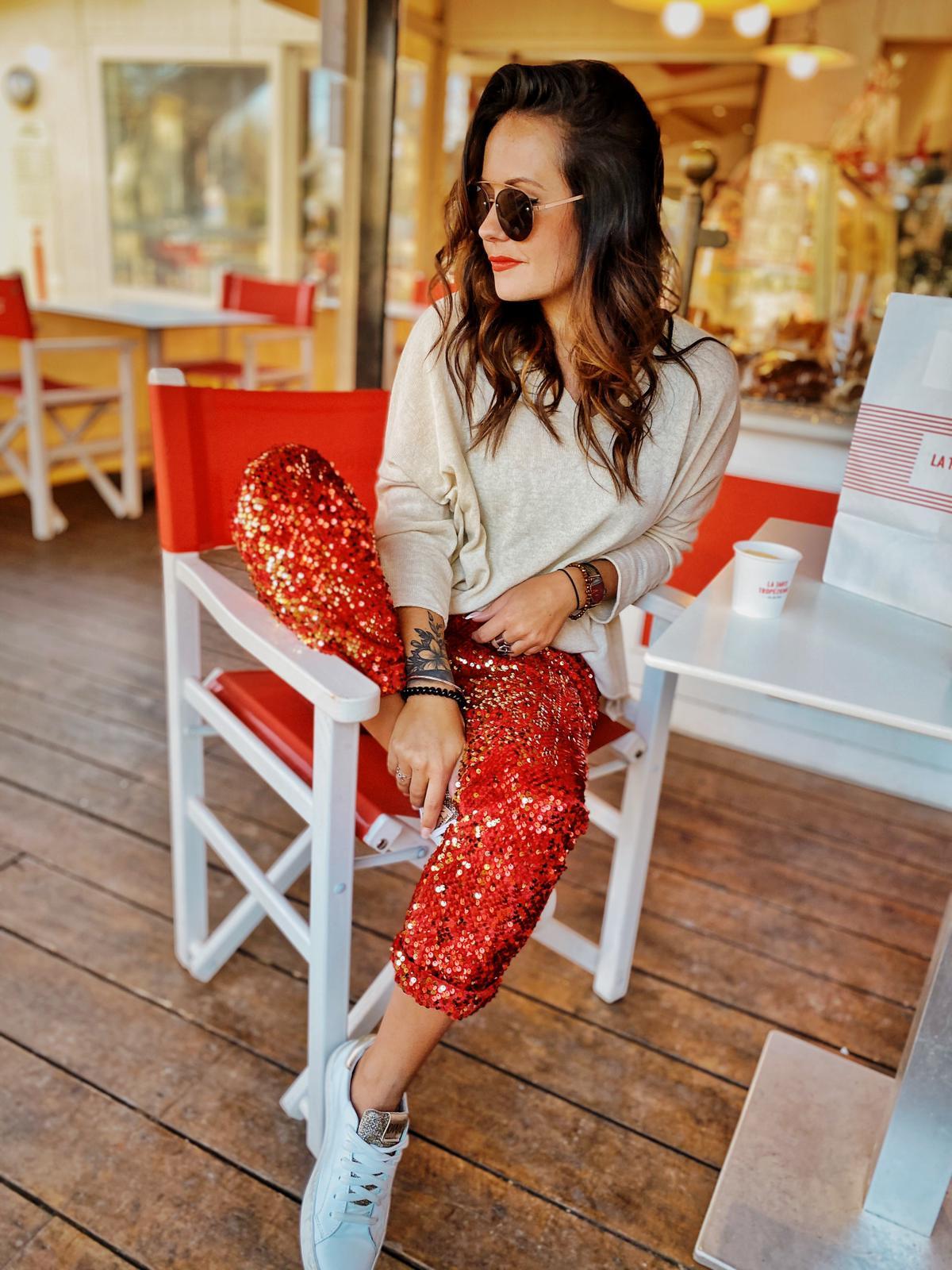 Pantalon GLITTER rouge