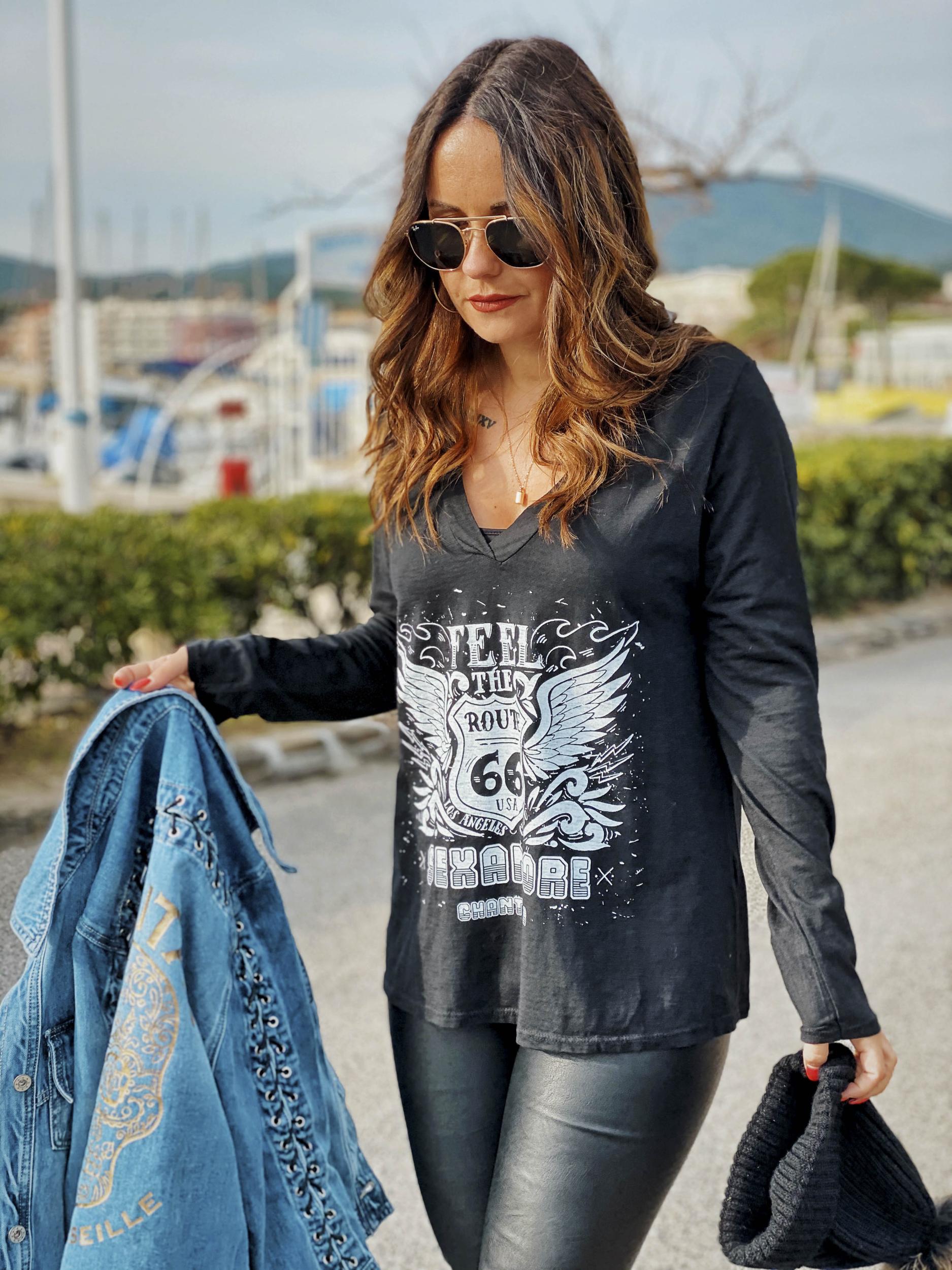 T-shirt ROAD noir/blanc