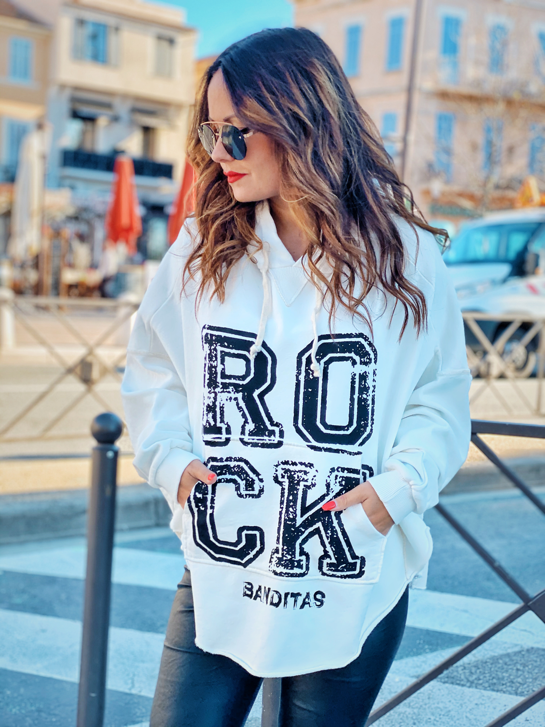 Sweat ROCK blanc/noir