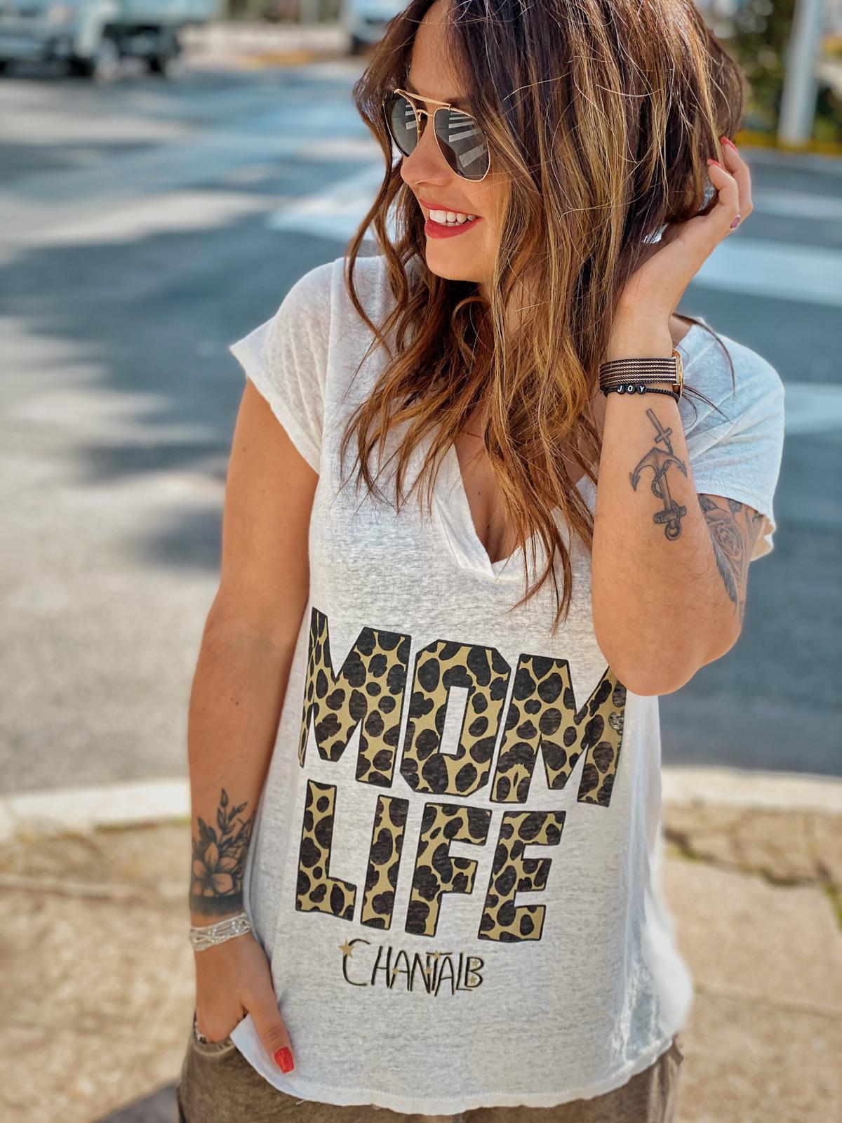 T-shirt MOM LIFE écru Chantal B