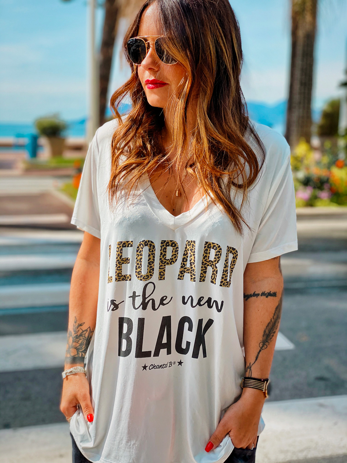 T-shirt NEW BLACK blanc Chantal B