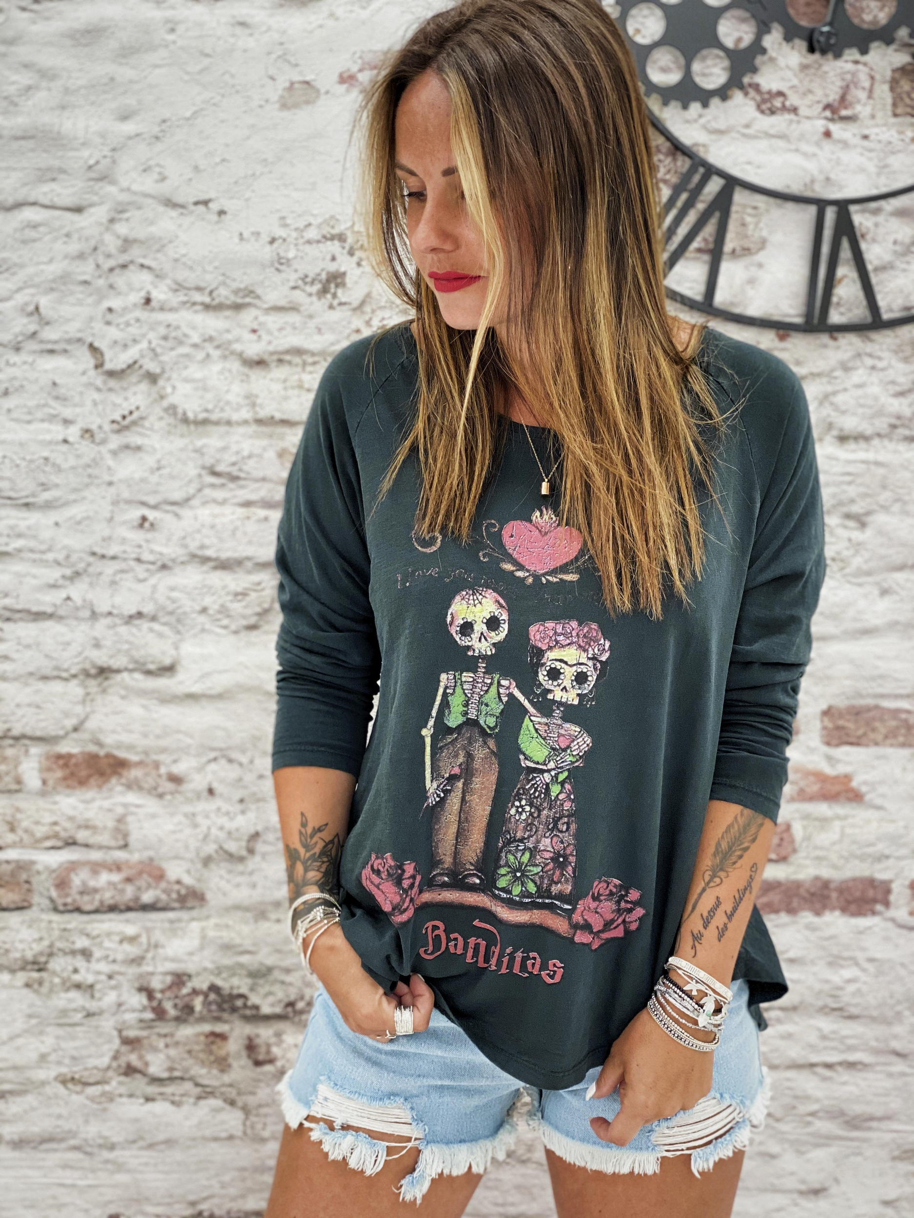 T-shirt LOVE SKULL noir Banditas