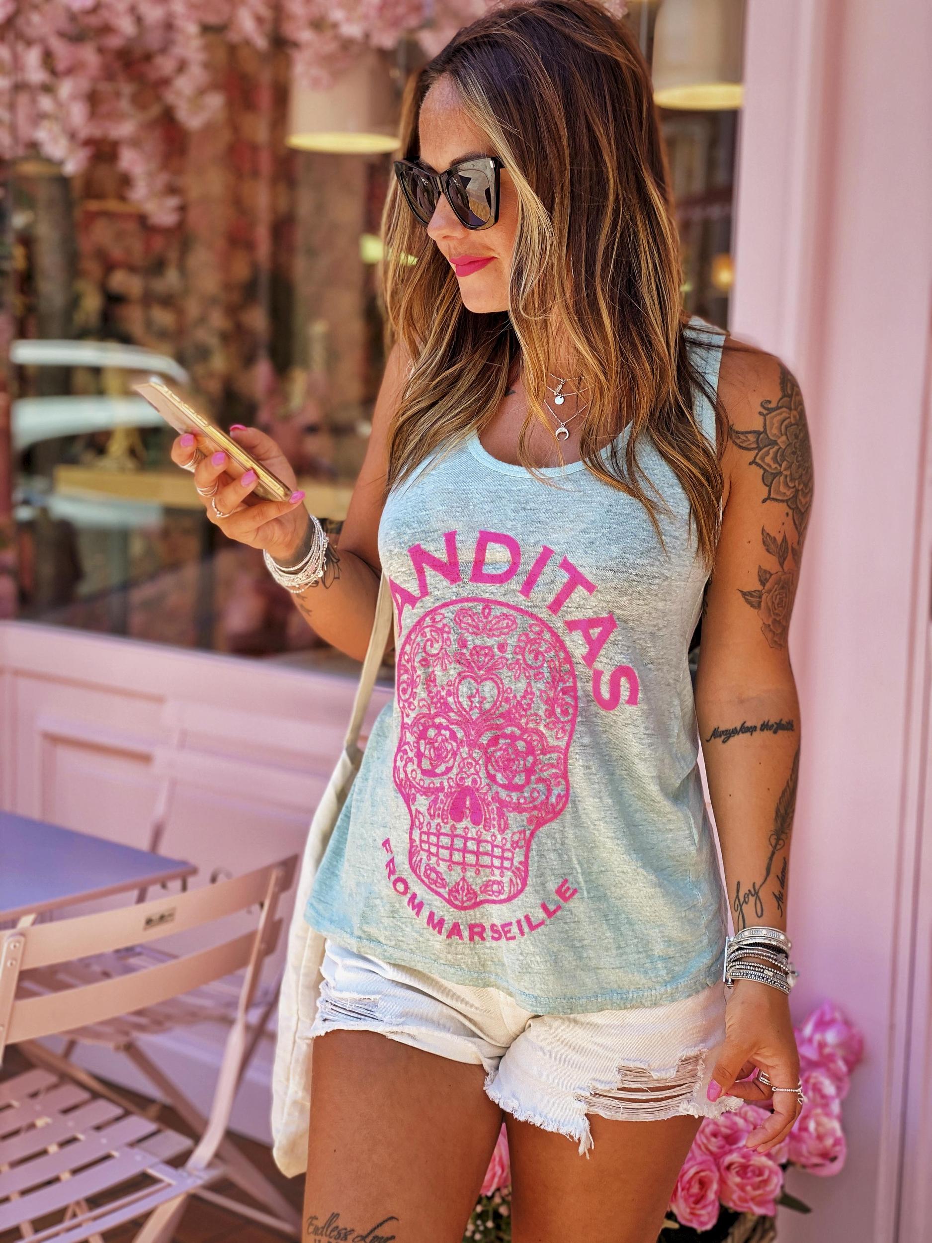 Débardeur MEXICO turquoise/rose Banditas