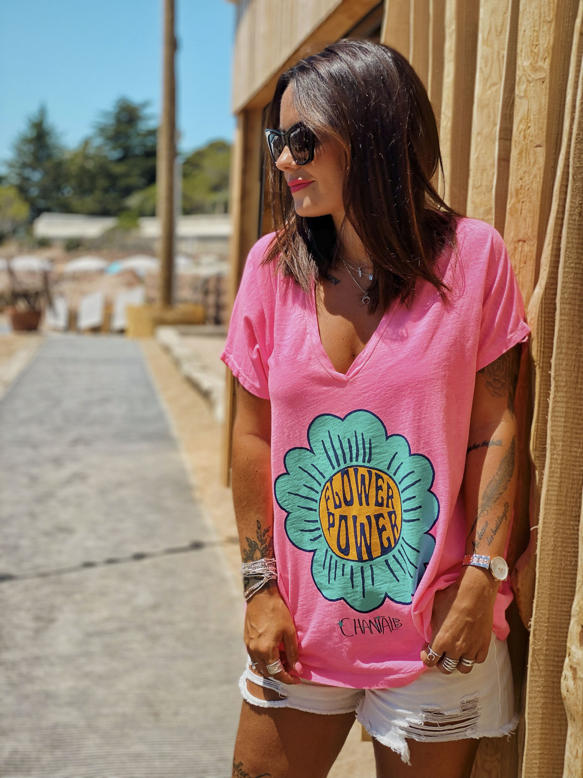 T-shirt FLOWER POWER rose fluo Chantal B