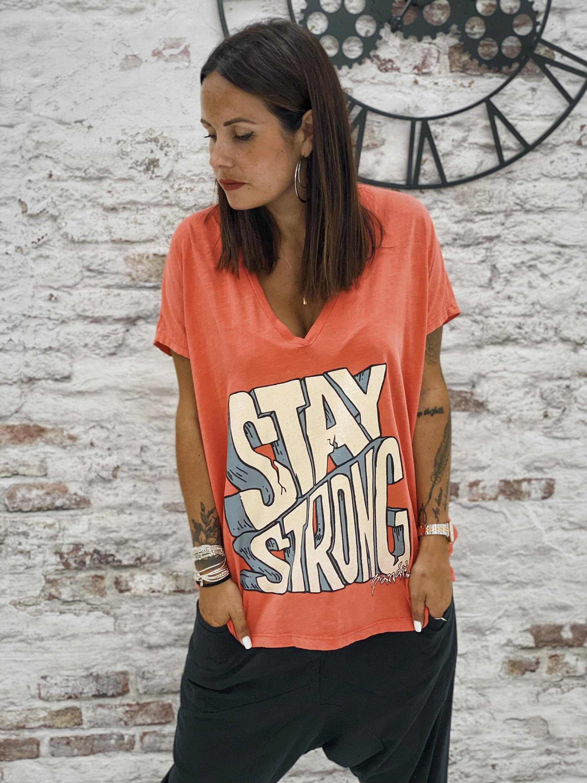 T-shirt STAY STRONG corail Banditas