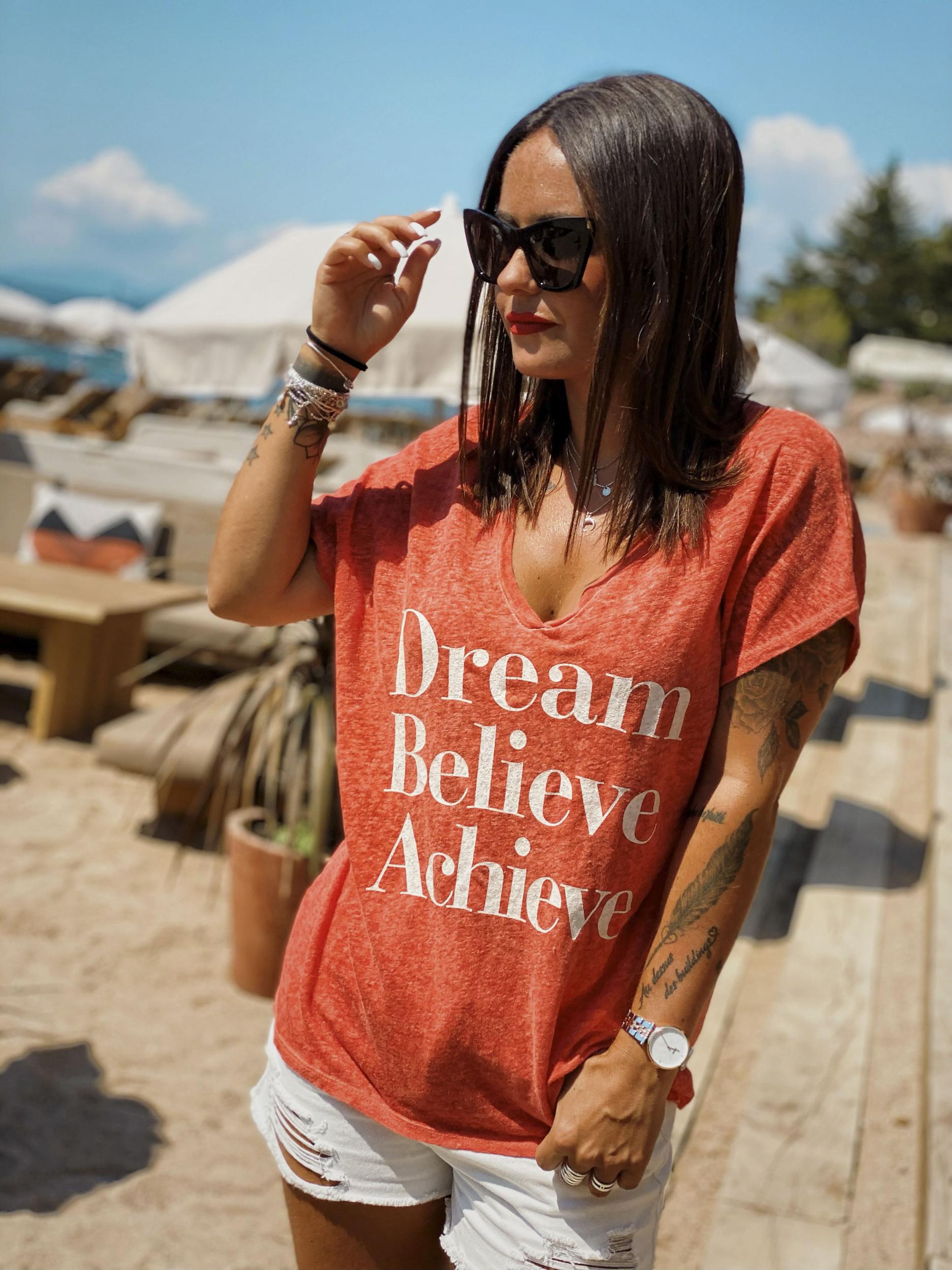 T-shirt BELIEVE corail Banditas