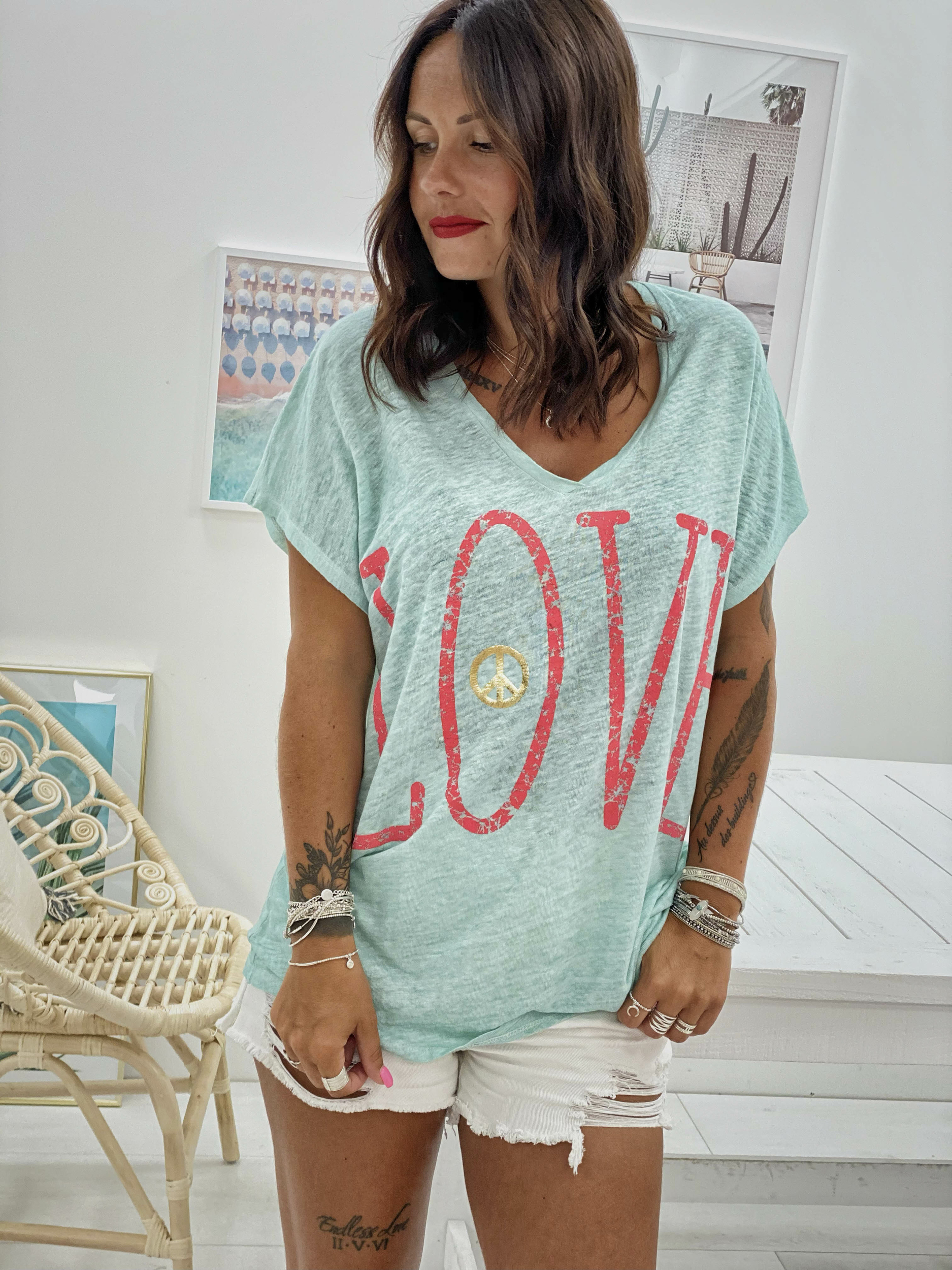 T-shirt LOVE MC turquoise Banditas