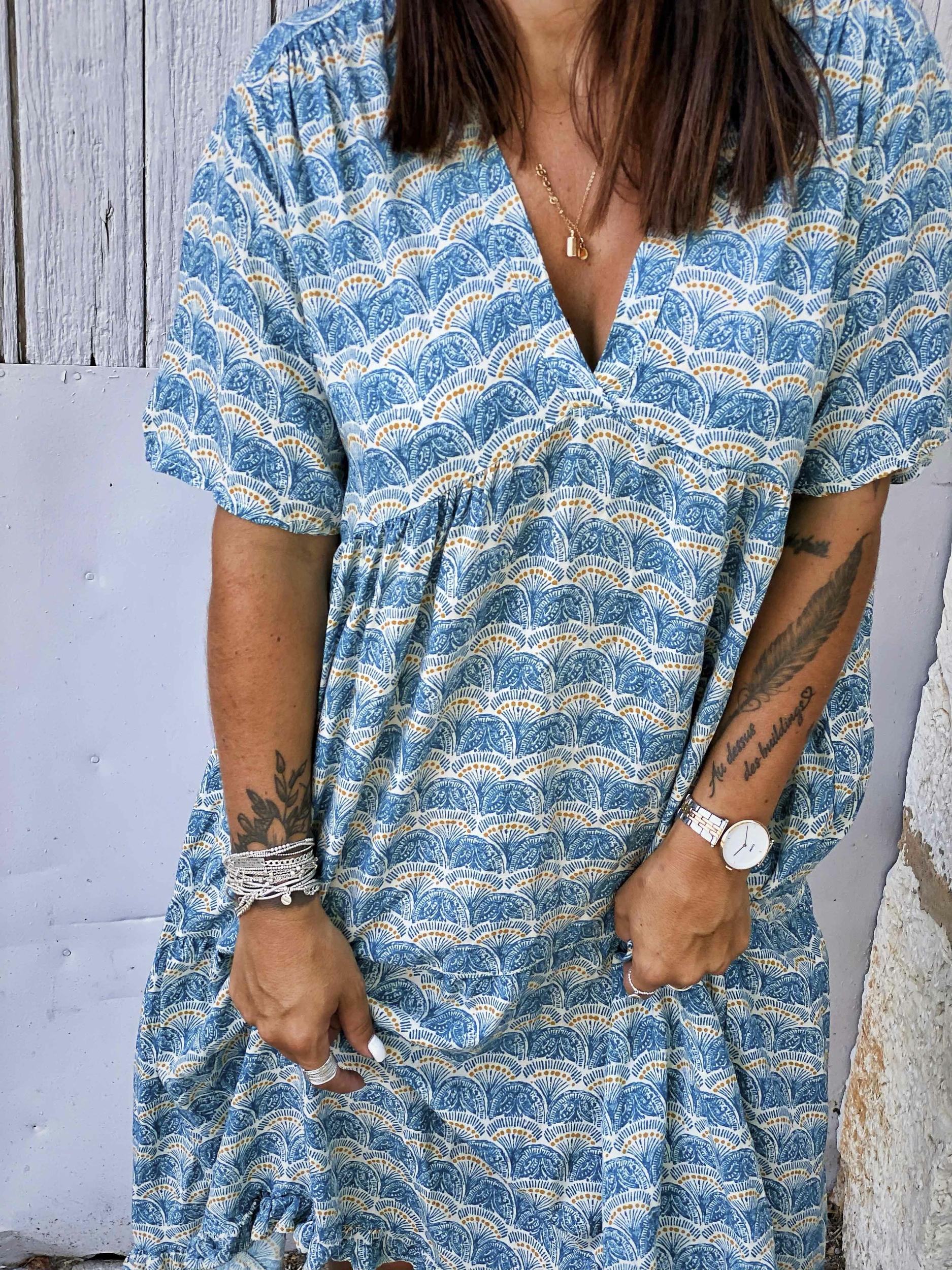 Robe ANDREANE courte MC bleu Banditas