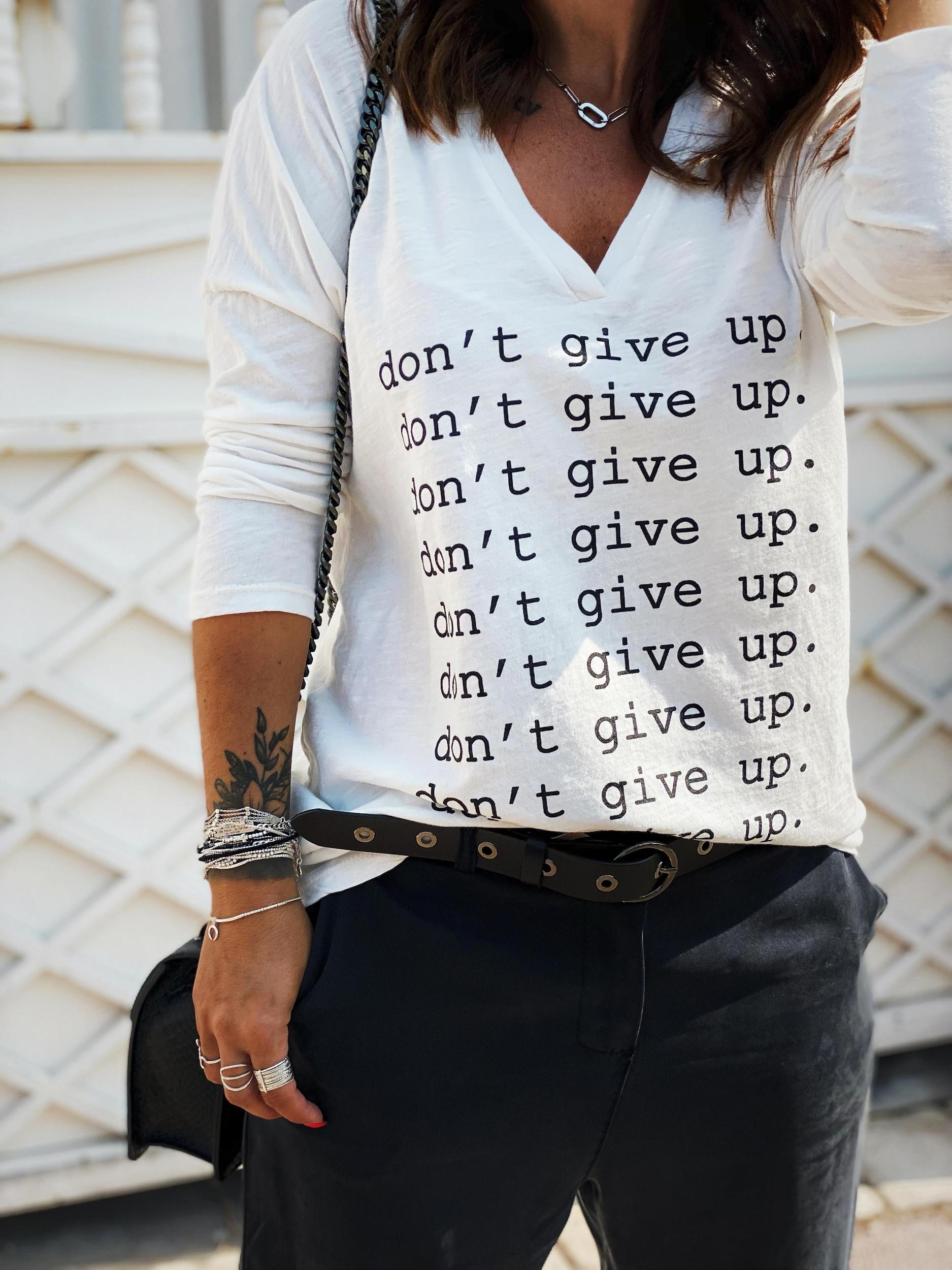 T-shirt DON\'T GIVE UP ML écru/noir Banditas