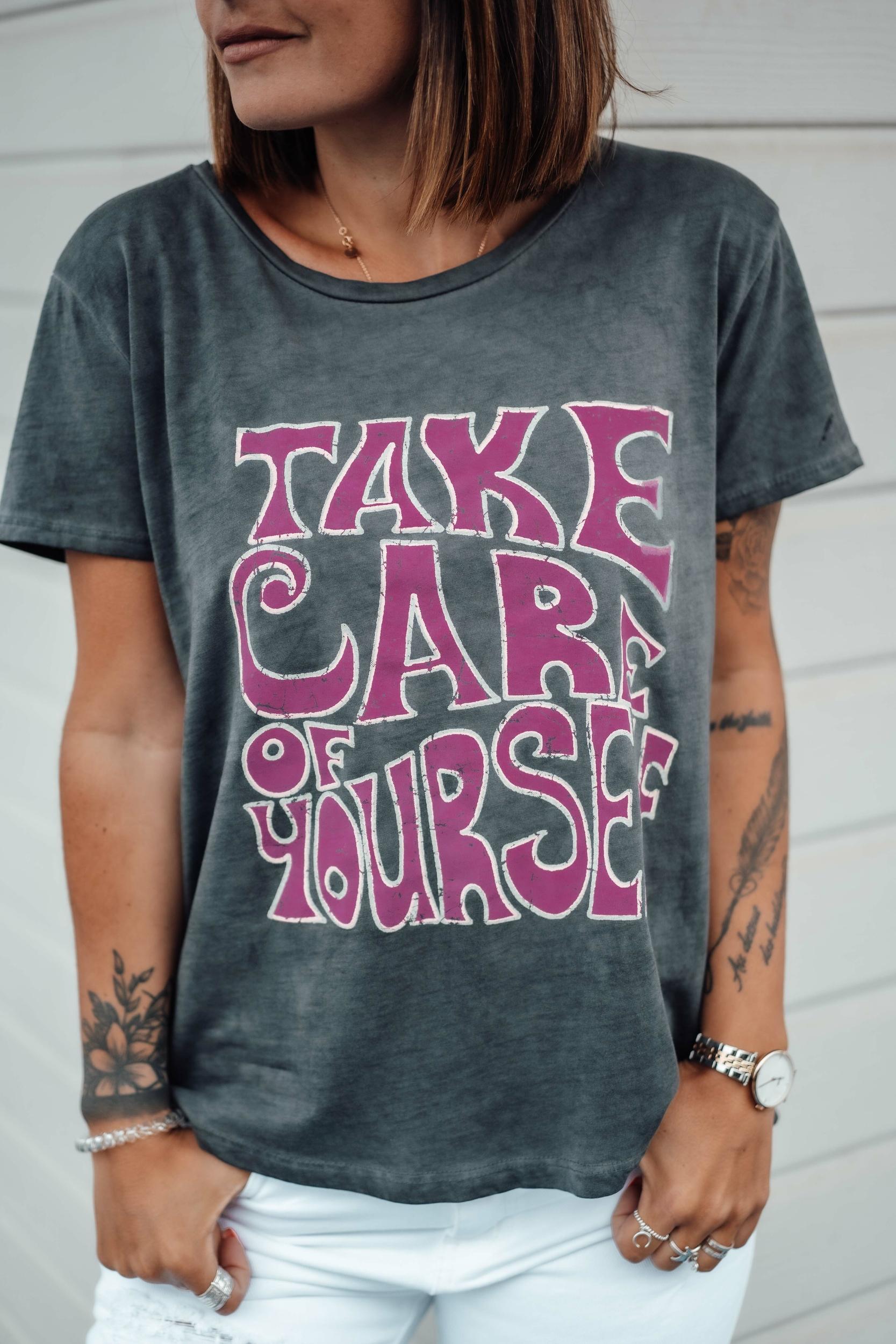 T-shirt TAKE CARE mc anthra/fuchsia Banditas